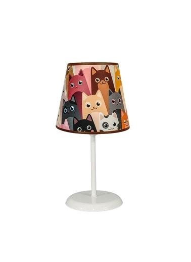 Şenay Aydınlatma Masa Lambası Kumaş B.Abajur-Sevimli Kediler Renkli